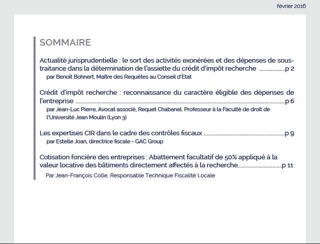 Le Bulletin du Crédit d'Impôt Recherche (BCIR) - Sommaire - GAC GROUP