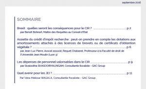 Le Bulletin du Crédit d'Impôt Recherche (BCIR) - septembre 2016 - Sommaire - GAC GROUP